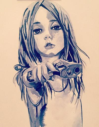 Рисунки карандашом девушки с оружием